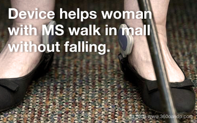 Device helps woman with MS walk in mall without falling